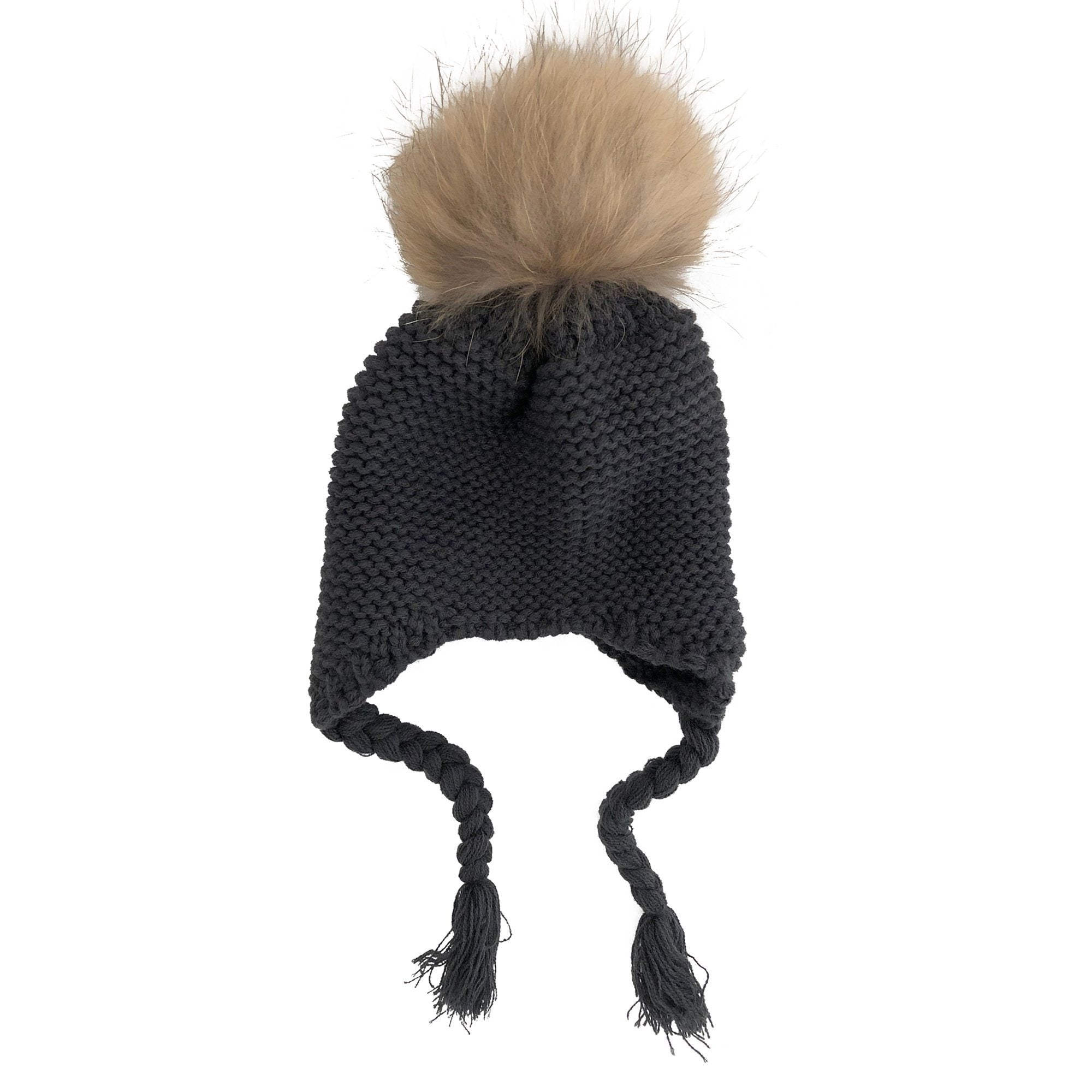 Single Pom Pom Knit Beanie (Dark Grey)