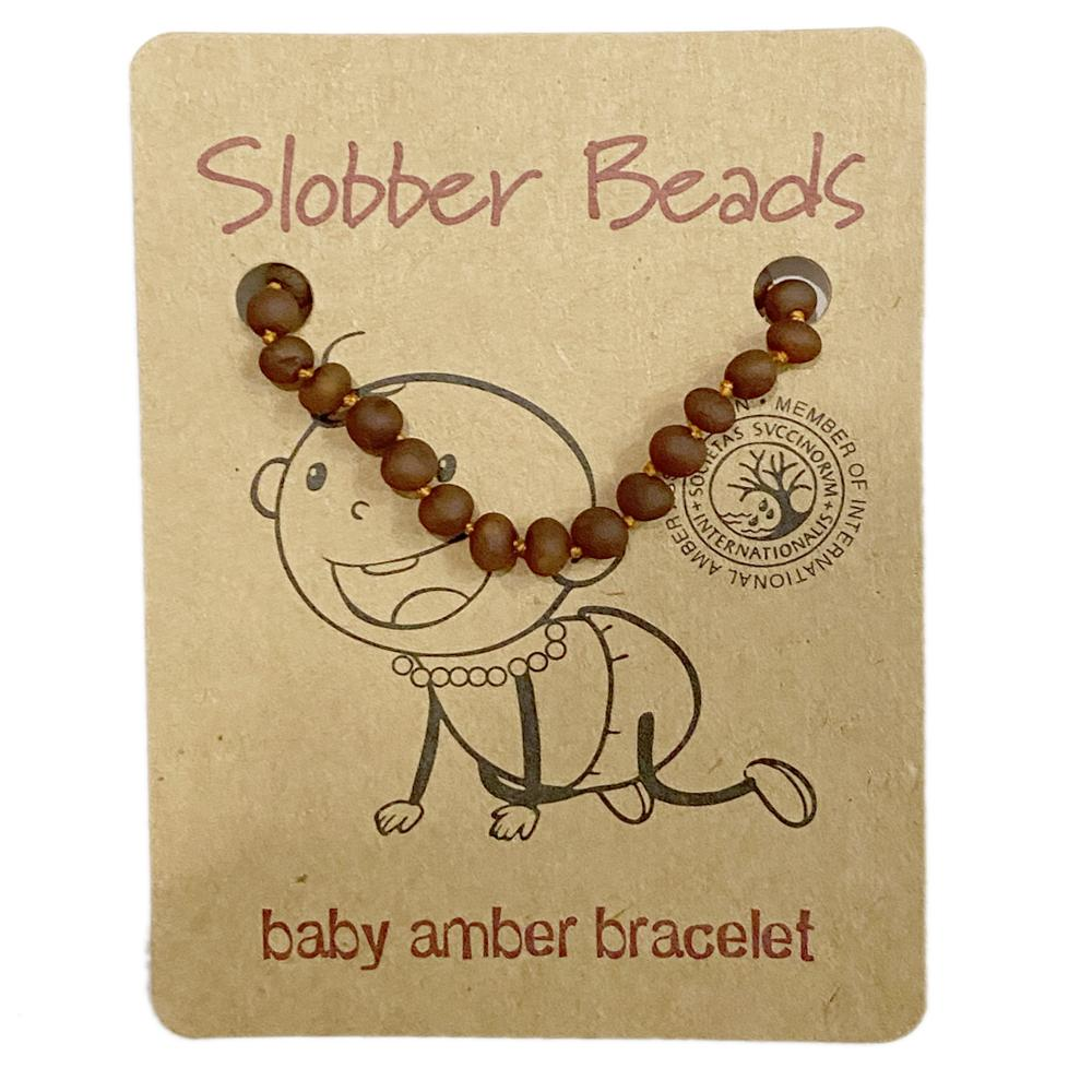 Amber Toddler Teething Bracelet (Cognac Raw Round)
