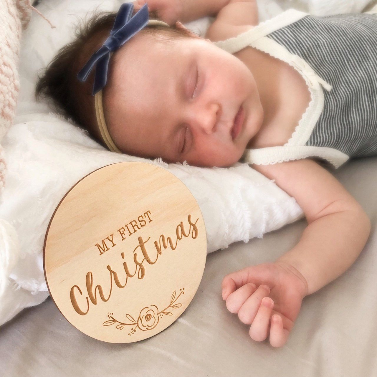 First Christmas Wooden Plaque (Vintage Floral)