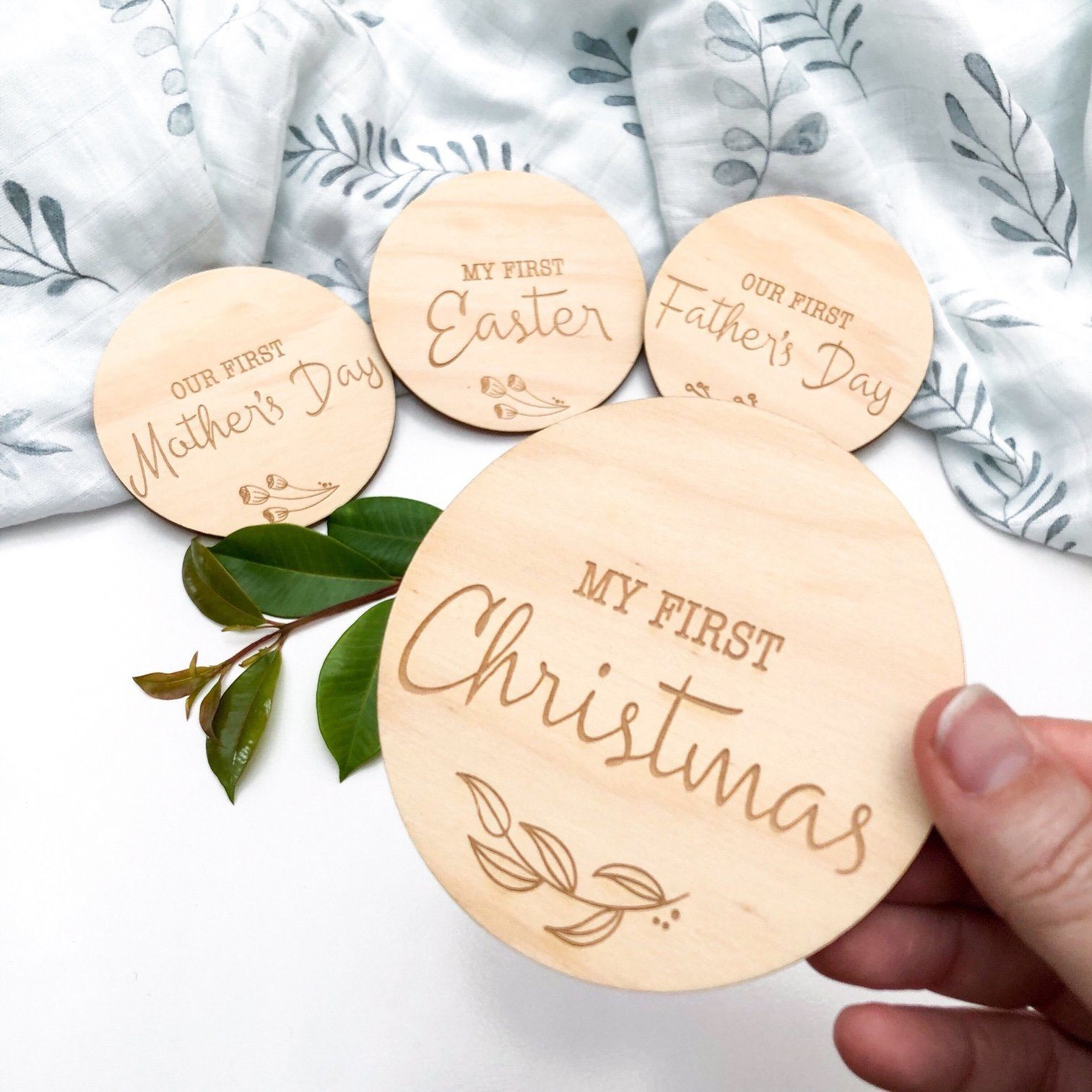 First Christmas Wooden Plaque (Natural Foliage)