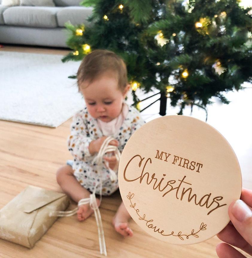 First Christmas Wooden Plaque (Love Script)
