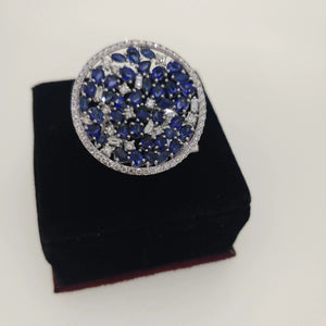 14k gold diamond & blue sapphire ladies ring (431)