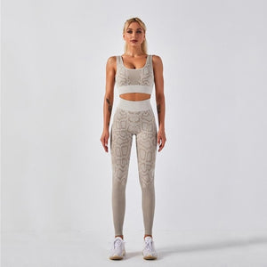 Seamless Snakeskin Print Yoga Set