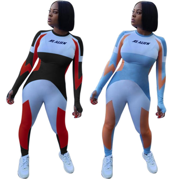 1 Piece Color Block Body Suit