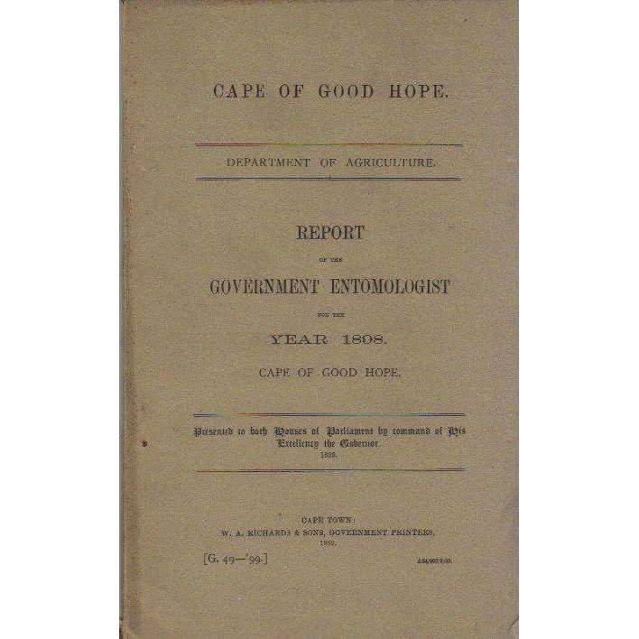 Bookdealers:Report of the Government Entomologist for the Year 1898: Cape of Good Hope | Chas P. Lounsbury