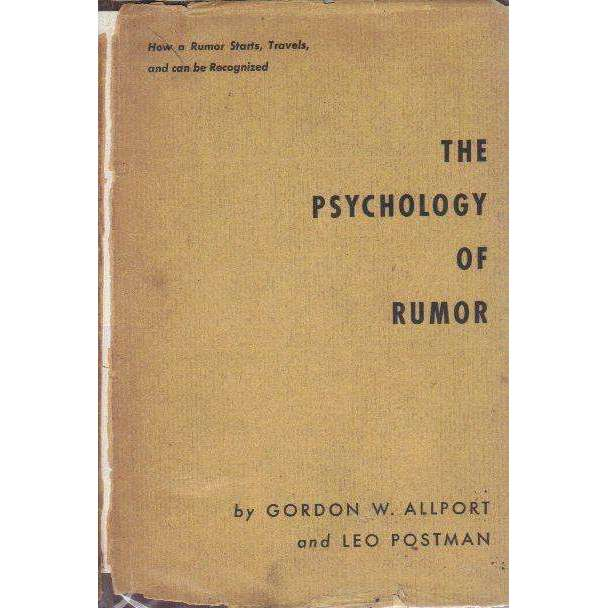 Bookdealers:The Psychology of Rumor | Gordon W. Allport & Leo Postman