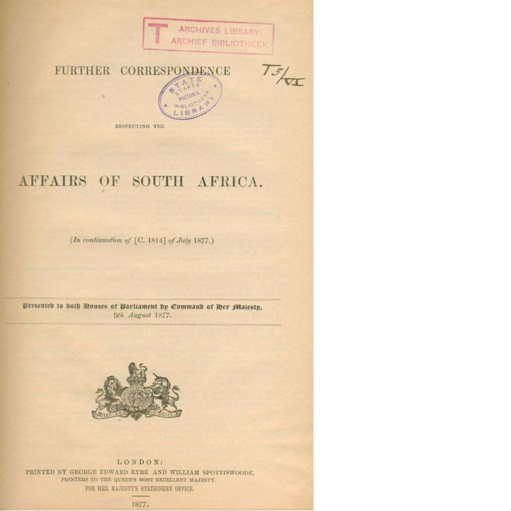 Bookdealers:Further Correspondence Respecting the Affairs of South Africa