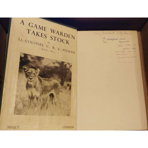 A Game Warden Takes Stock (Published 1945, Dustwrapper Stuck to Pastedowns, Collated Complete) | C.R.S. Pitman