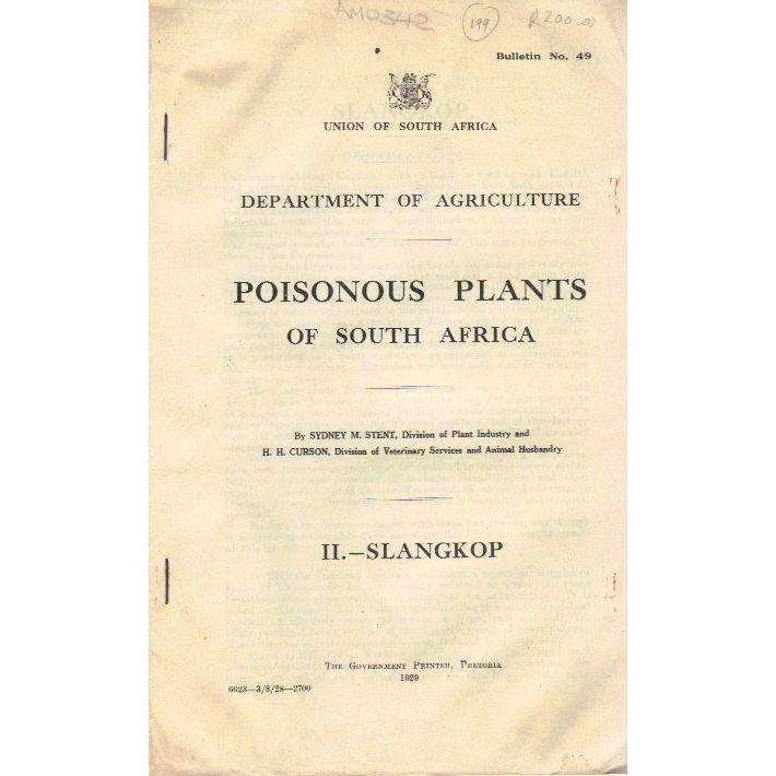 Bookdealers:Poisonous Plants of South Africa | Sydney M. Stent