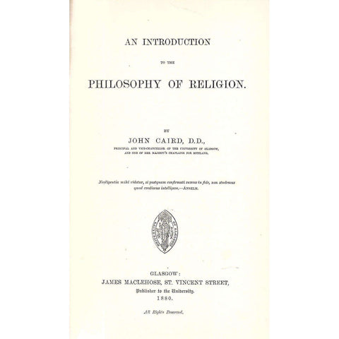 An Introduction to the Philosophy of Religion, Being the Croall Lecture for 1878-79 | John Caird