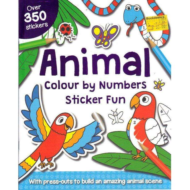 Bookdealers:Animal Colour by Numbers Sticker Fun (With Press-outs to build an Amazing Animal Scene
