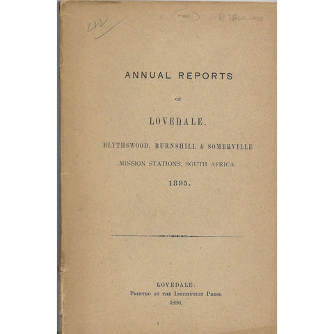 Annual reports of Lovedale 1895: Blythswood, Burnhill & Somerville | Lovedale Press