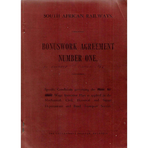 Bonuswork Agreement Number One (With 1962 Amendments Pasted In, Afrikaans and English Edition)
