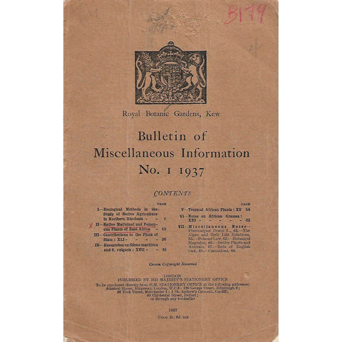 Bulletin of Miscellaneous Information (No. 1, 1937)