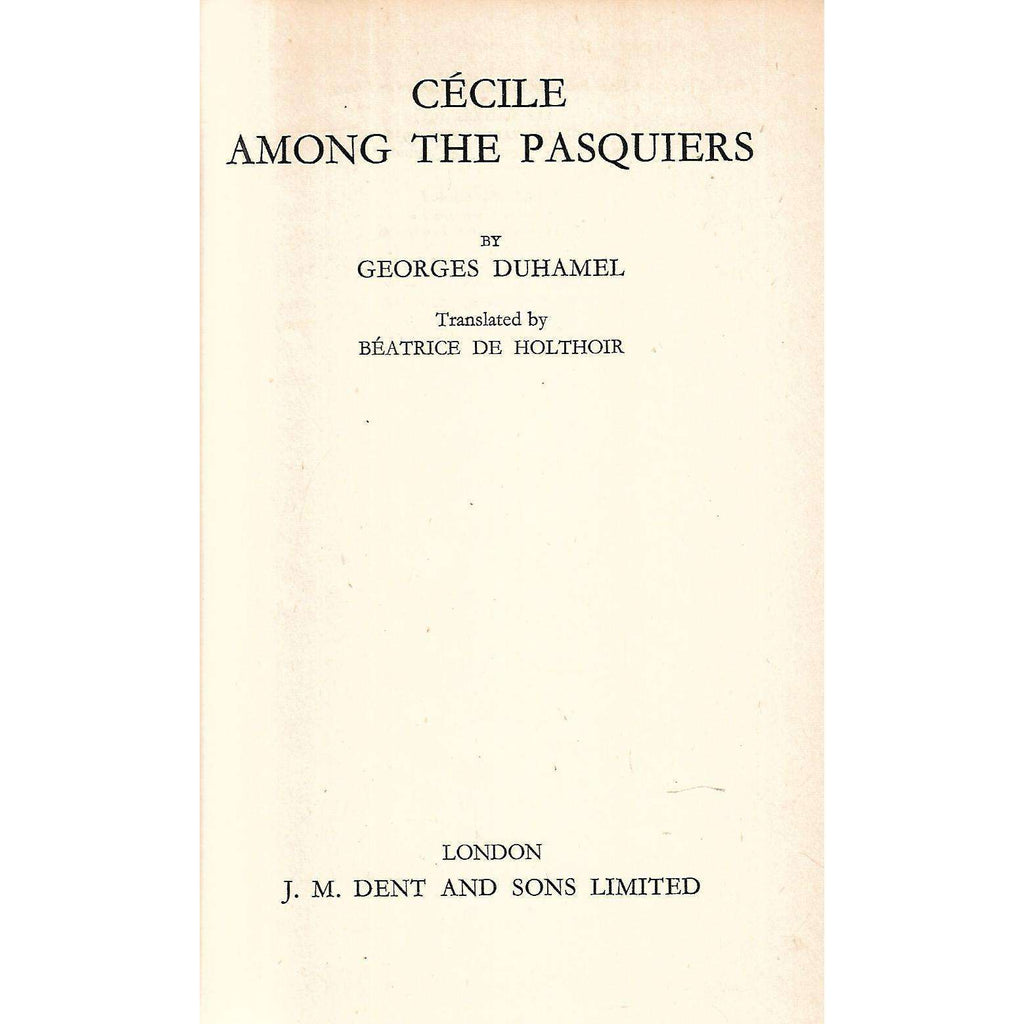 Bookdealers:Cecile Among the Pasquiers | Georges Duhamel