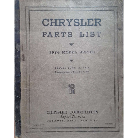 Chrysler Parts List: 1936 Model Series