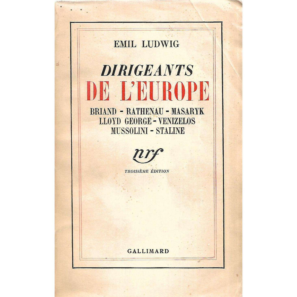 Bookdealers:Dirigeants de L'Europe (French) | Emil Ludwig
