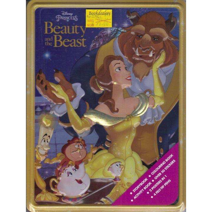 Bookdealers:Disney Princess Beauty and the Beast Happy Tin: Storybook, Colouring Book, Activity Book, Over 50 Stickers, 2 Posters in 1, 4 Felt-Tip Pens