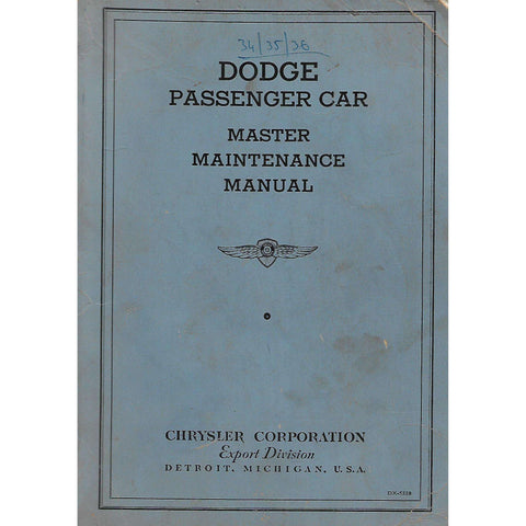 Dodge Passenger Car Master Maintenance Manual (Post c.1935 Publication)