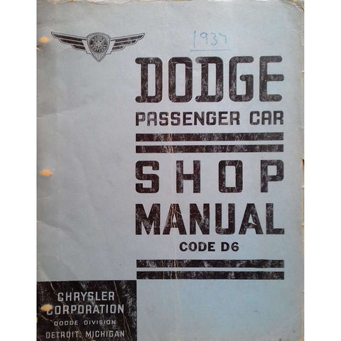 Dodge Passenger Car Shop Manual Code D6
