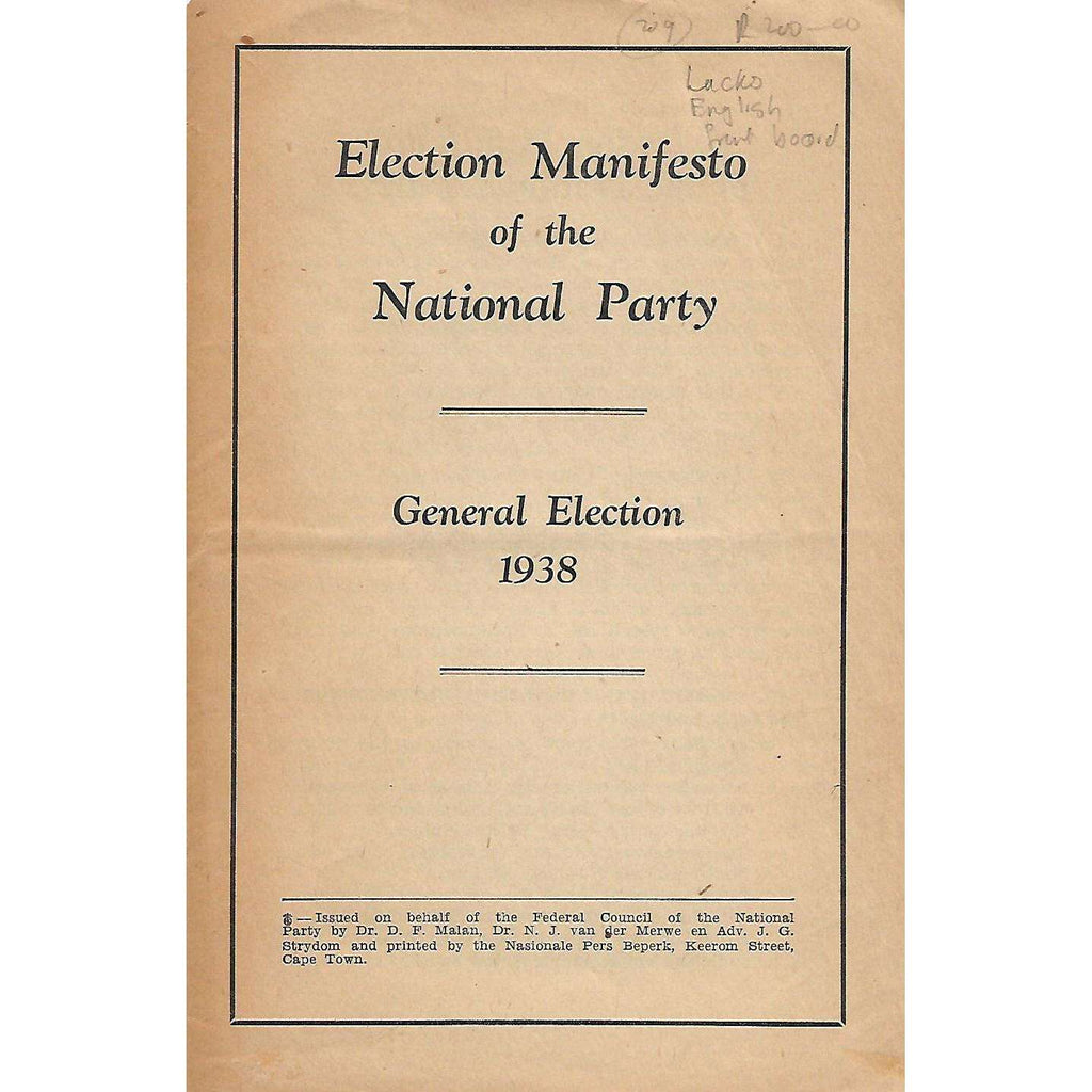 Bookdealers:Election Manifesto of the National Party: General Election 1938 (In English and Afrikaans)