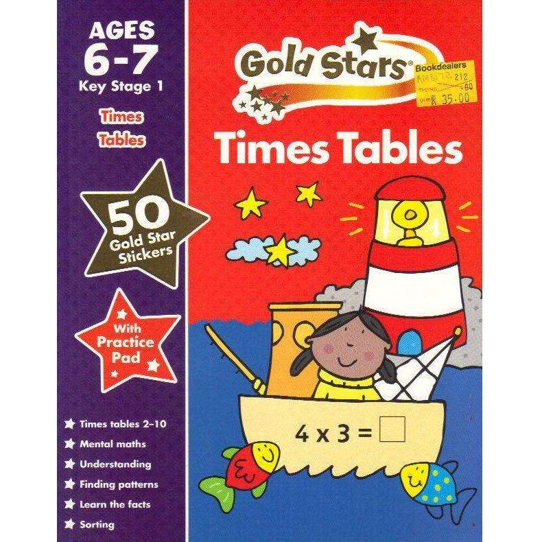 Bookdealers:Gold Stars Times Tables Ages 6-7 Key Stage 1 (Gold Stars Practice Book With Stickers) | Betty Root