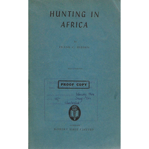 Hunting in Africa (Uncorrected Proof Copy) | Frank C. Hibben