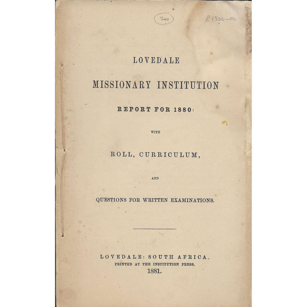 Bookdealers:Lovedale Missionary Institution Report for 1880: with Roll, Curriculum | Lovedale Press