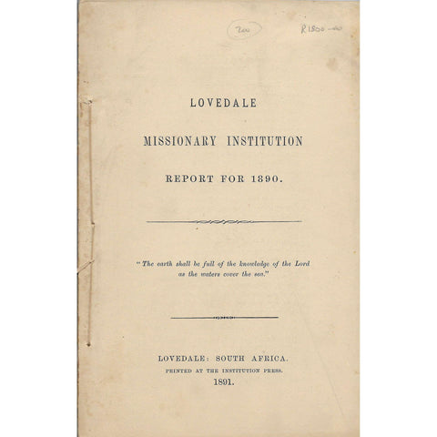 Lovedale Missionary Institution Report for 1890 - Lovedale Press