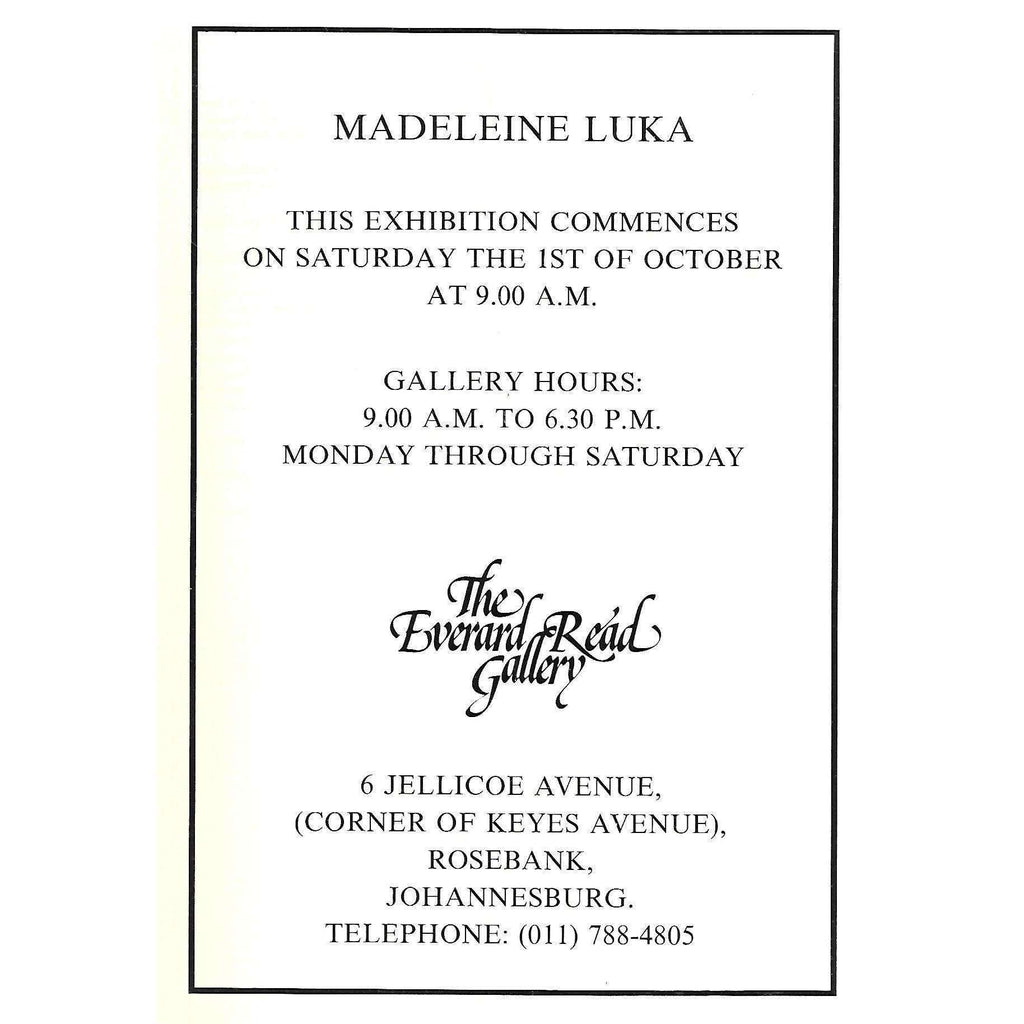 Bookdealers:Madeleine Luka (Invitation to an Exhibition of her Work)