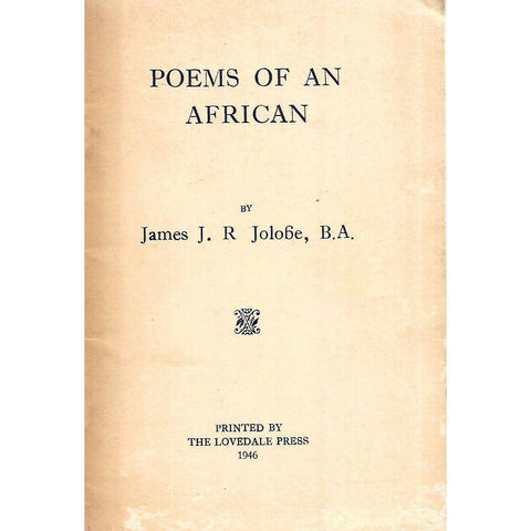 Poems of an African | James J. R. Jolobe