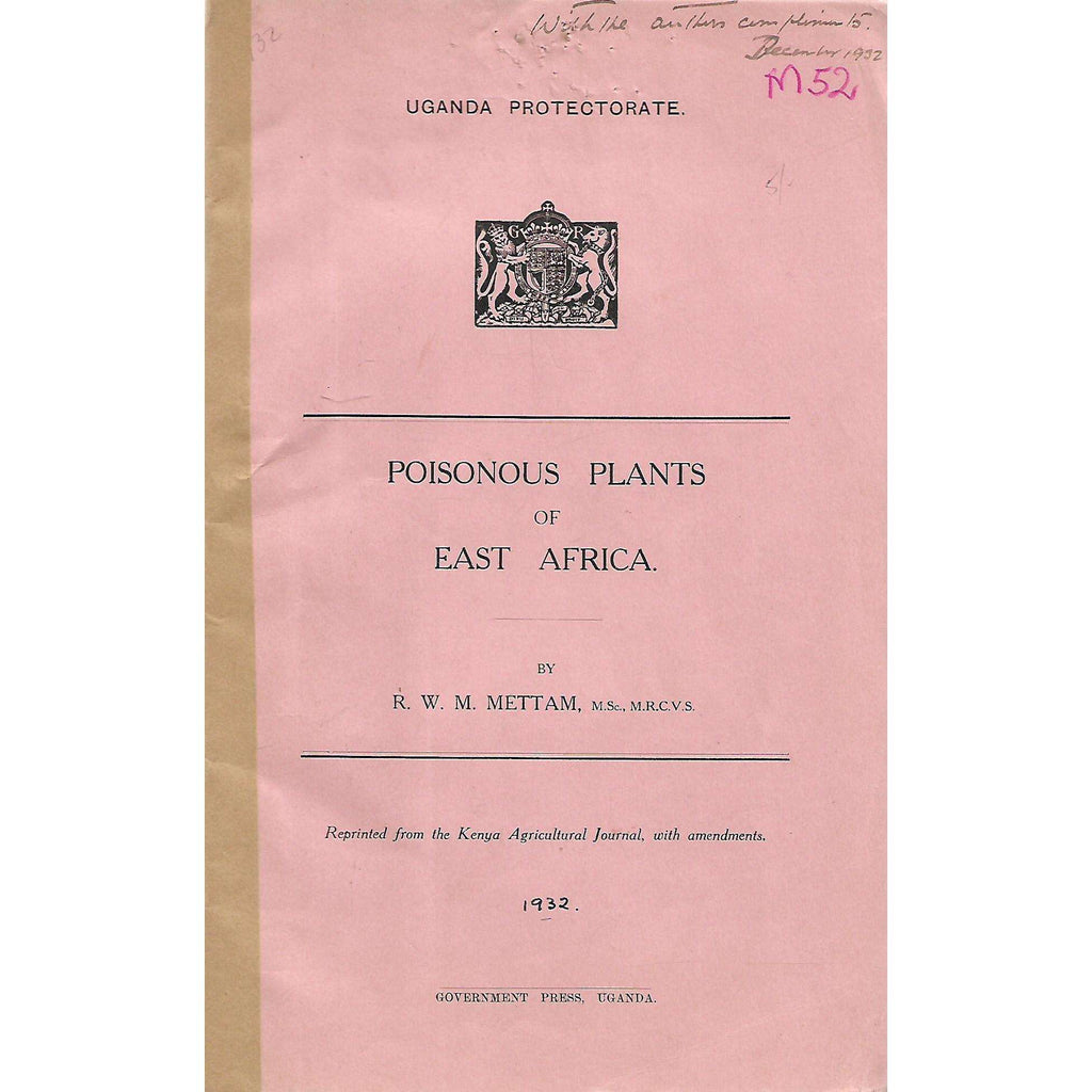 Bookdealers:Poisonous Plants of East Africa (With Author's Compliments) | R. W. M. Mettam