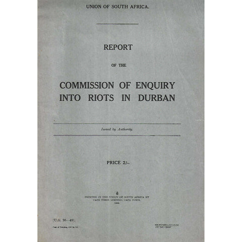 Report of the Commission of Enquiry into Riots in Durban
