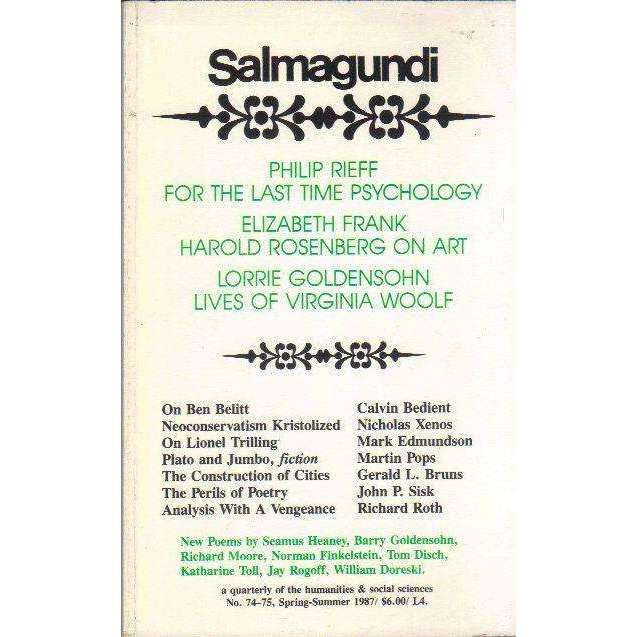 Bookdealers:Salmagundi: A Quarterly of the Humanities & Social Sciences (No. 74 - 75, Spring-Summer 1987) | Robert Boyers