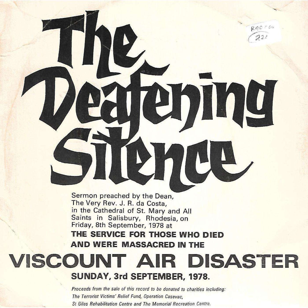 Bookdealers:The Defening Silence: Sermon Preached by J. R. da Costa (33.33 Rpm Record) | J. R. da Costa