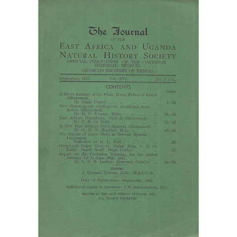 The Journal of the East Africa and Uganda History Society (Vol. 16, No. 1, September 1941)
