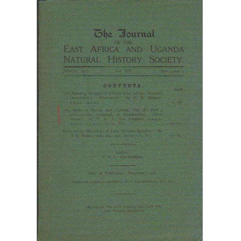 The Journal of the East Africa and Uganda Natural History Society | Editor: V.G.L. van Someren