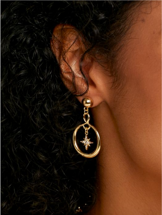 Celestial Hoop Drop Earrings