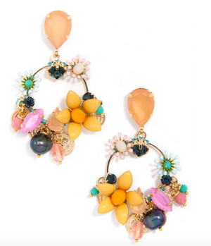 Colorful Crystals And Medallions Drop Hoop Earrings