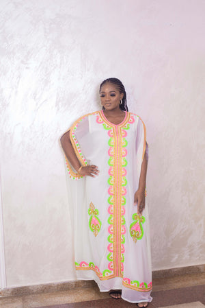 White Multicolor Embroidered Kaftan Dress-Front