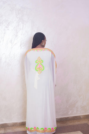 white kaftan maxi dress back