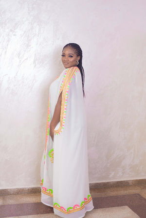 white kaftan maxi dress side