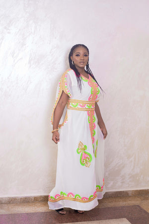 white kaftan maxi dress belt