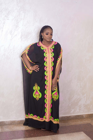 Black kaftan maxi dress front