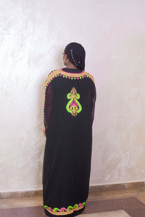 Black kaftan maxi dress back