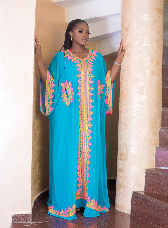 Multicolored Embroidered Blue Kaftan