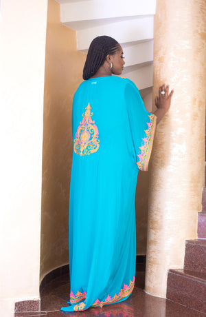 blue kaftan maxi dress back