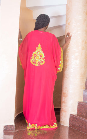 pink kaftan maxi dress back