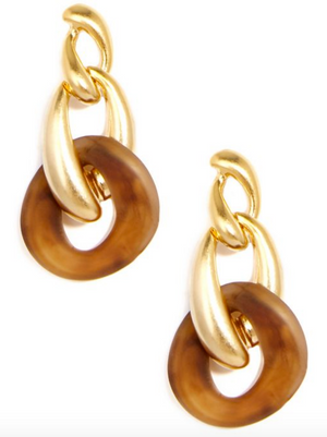 Matt and Marbled Linked Drop Earrings