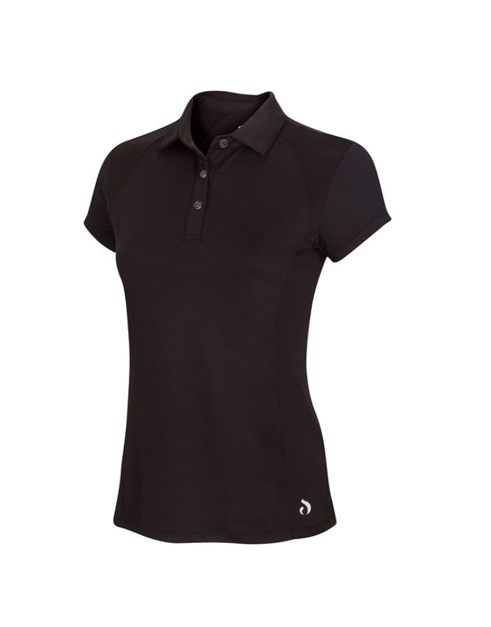 Polo Shirt w/Mesh - Black